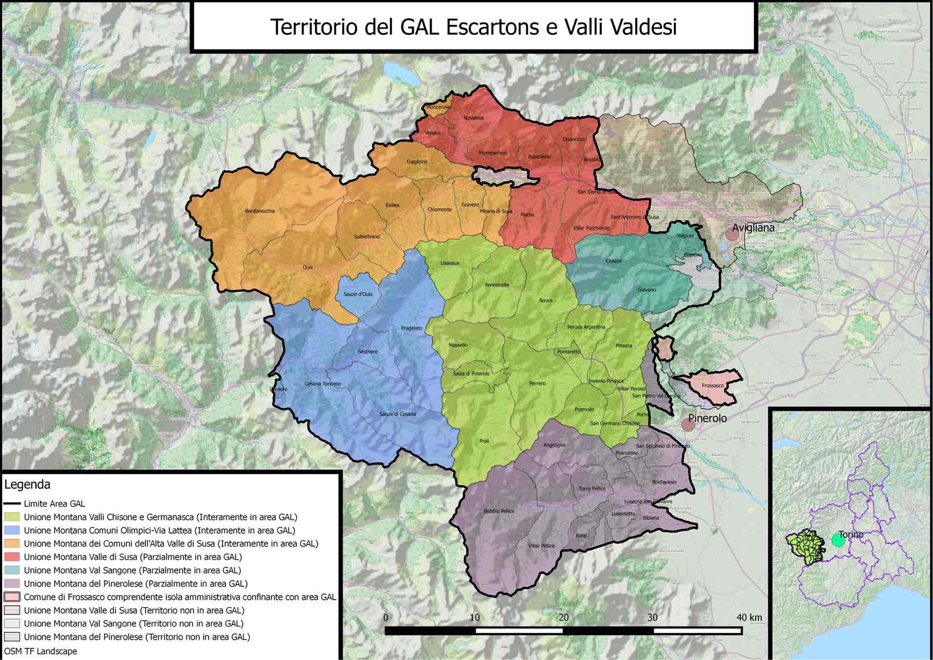 GAL Escartons e Valli Valdesi : il territorio ed i comuni compresi nel GAL