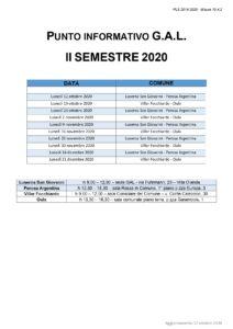sportello gal calendario II semestre 2020