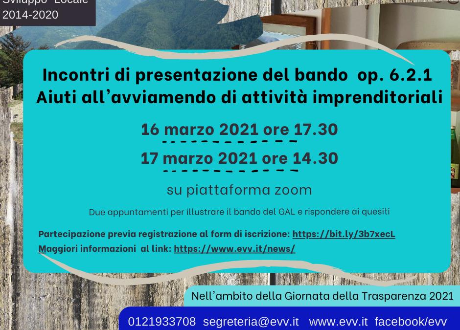 """Presentazione online del bando """"Aiuti all'avviamento di attività imprenditoriali per attività non agricole nelle zone rurali"""" op. 6.2.1"""
